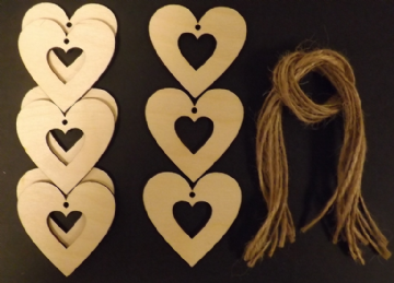 Hollow Heart Gift Tags Xmas Decoration 60mm Pack of 10